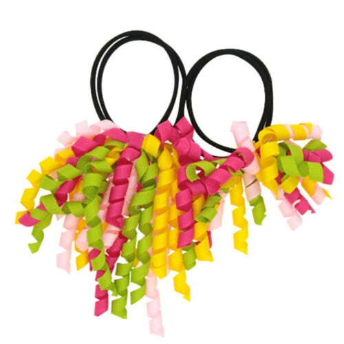 2 Pcs Colorful Curler Ribbon Kids Hair Ties Girls/' Elastic Hair Bands Rings Wome