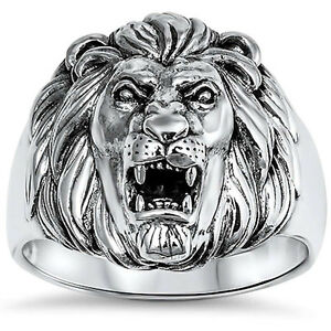 Lion-Ring-Solid-925-Sterling-Silver-Lion-Head-Ring-Unisex-Lion-Band-Plain-Simple