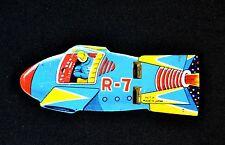 Vintage Astronaut Space Rocket Ship R-7 Tin Litho Double Whistle Toy Japan