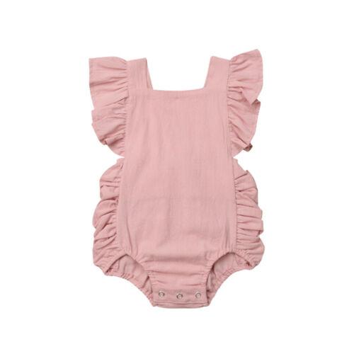 Summer Newborn Baby Boys Girls Cute Ruffle Solid Romper Bodysuit Jumpsuit Clothe