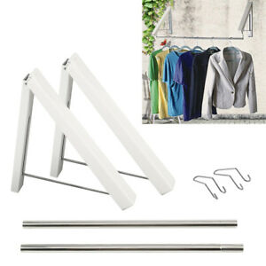 2Pcs-Folding-Wall-Hanger-Laundry-Rack-Stainless-Portable-Clothes-Storage-UK