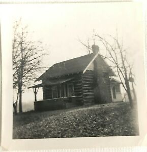 Vintage Picture Photograph Old Log Cabin Home House Mount Sterling Ohio 1955 Ebay