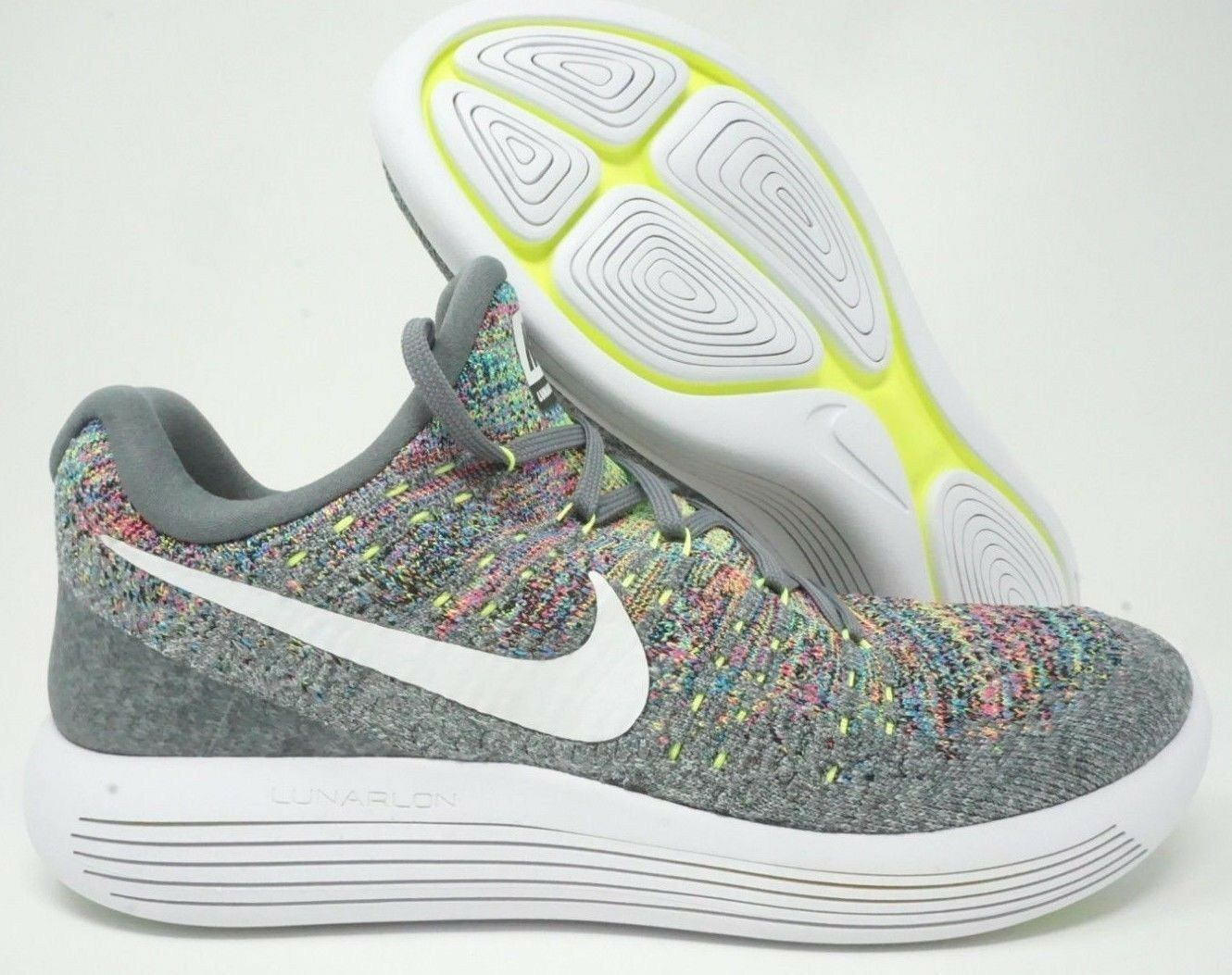 39e3ee3ecf7 Nike Nike Nike Lunarepic Low Flyknit 2 Mens Running Shoes Cool Grey White  Multi Size 4624f7