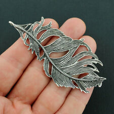 5 Feather Pendant Charms Antique Silver Tone 2 Sided Large Sized SC6478