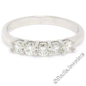 Nuevo-14K-Oro-Blanco-0-65ctw-5-Engarzado-Diamante-Brillante-Redondo-Anillo-de
