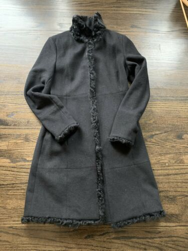 Black Tahari Fur Trimmed Dress Coat