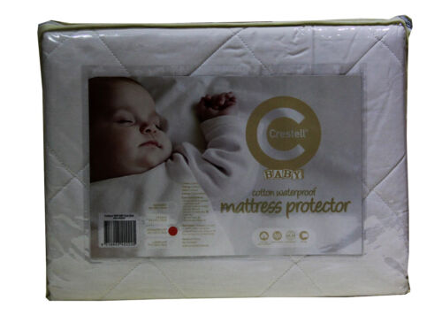 Baby Cot Cotton Filled Standard Waterproof Mattress Protector Crestell 2 Pack