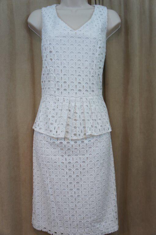 Ellen Tracy Dress Sz 10 Weiß Eyelet Lace Peplum Cotton Sheath Career Cocktail