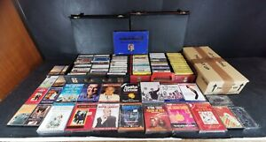 Cassette Music Tapes Large Bundle Various Genres with 2x Cases with Empty Cases