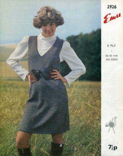 Emu 2926 Lady Pinafore Dress 4ply 32-42in Vintage Knitting Pattern