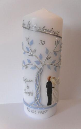 Datum Hochzeitskerze mit Wunschnamen Brautpaar in silber-hellblau Lebensbaum