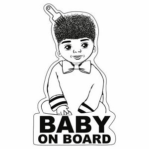 Baby-on-Board-Afro-Junge-Aufkleber-12x7cm-Sticker-Kind-Autoaufkleber-R104