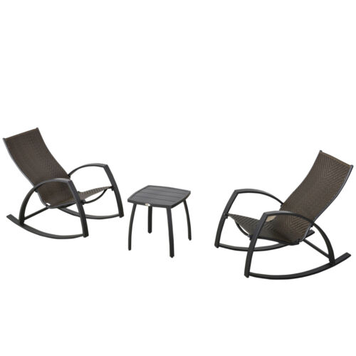Outsunny 3 Pcs Outdoor Wicker Patio Bistro Set Rattan Set 2 Rocking Chairs Table