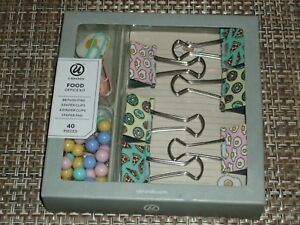 Food-Desk-Accessory-Set-NEW-40-pc-Office-Push-Pins-Binder-amp-Paper-Clips-Paper