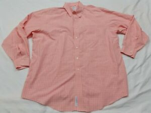 Brooks Brothers Button Down Shirt Non-Iron Pink White Striped Men's Size 18-35