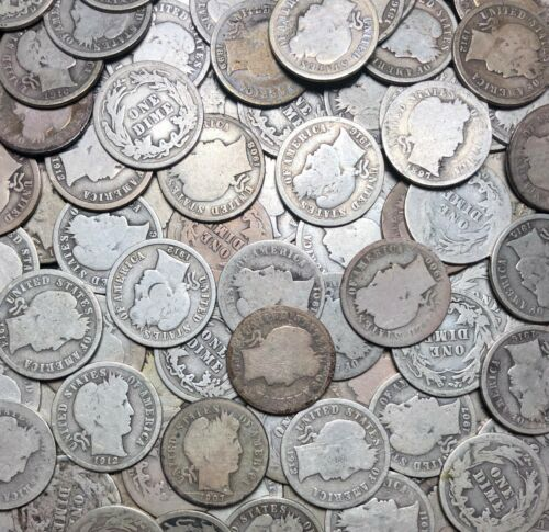 Barber Dimes 10c Silver Coins Lot Of 5 Random Picks From Estate Lot