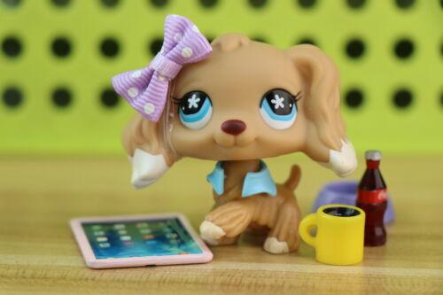 Authentic Littlest Pet Shop lps Cocker Spaniel 748 Beige with lps accessories