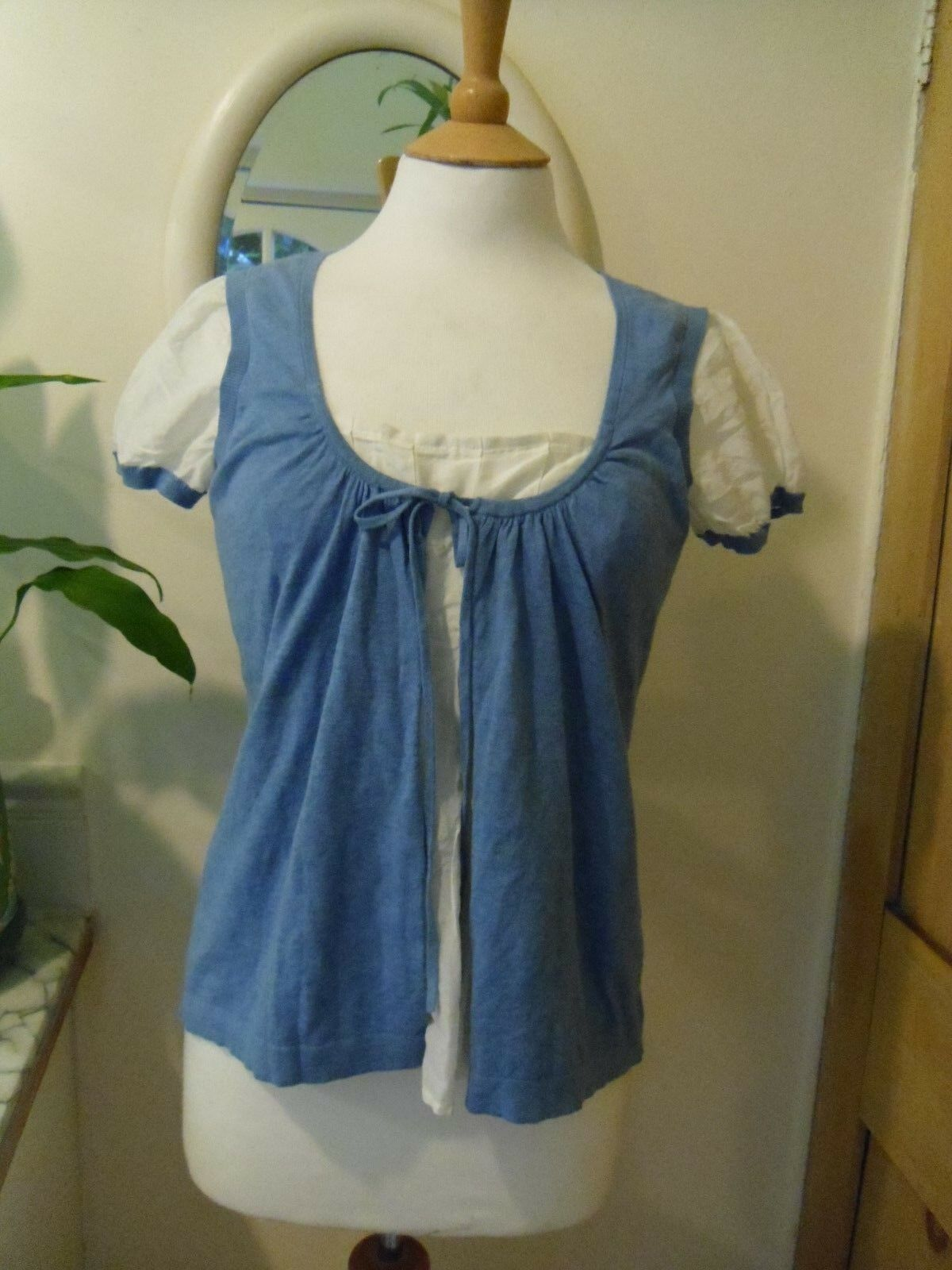 WHISTLES BLOUSE CORNFLOWER blueE & WHITE COTTON & SILK SIZE 3 TOP