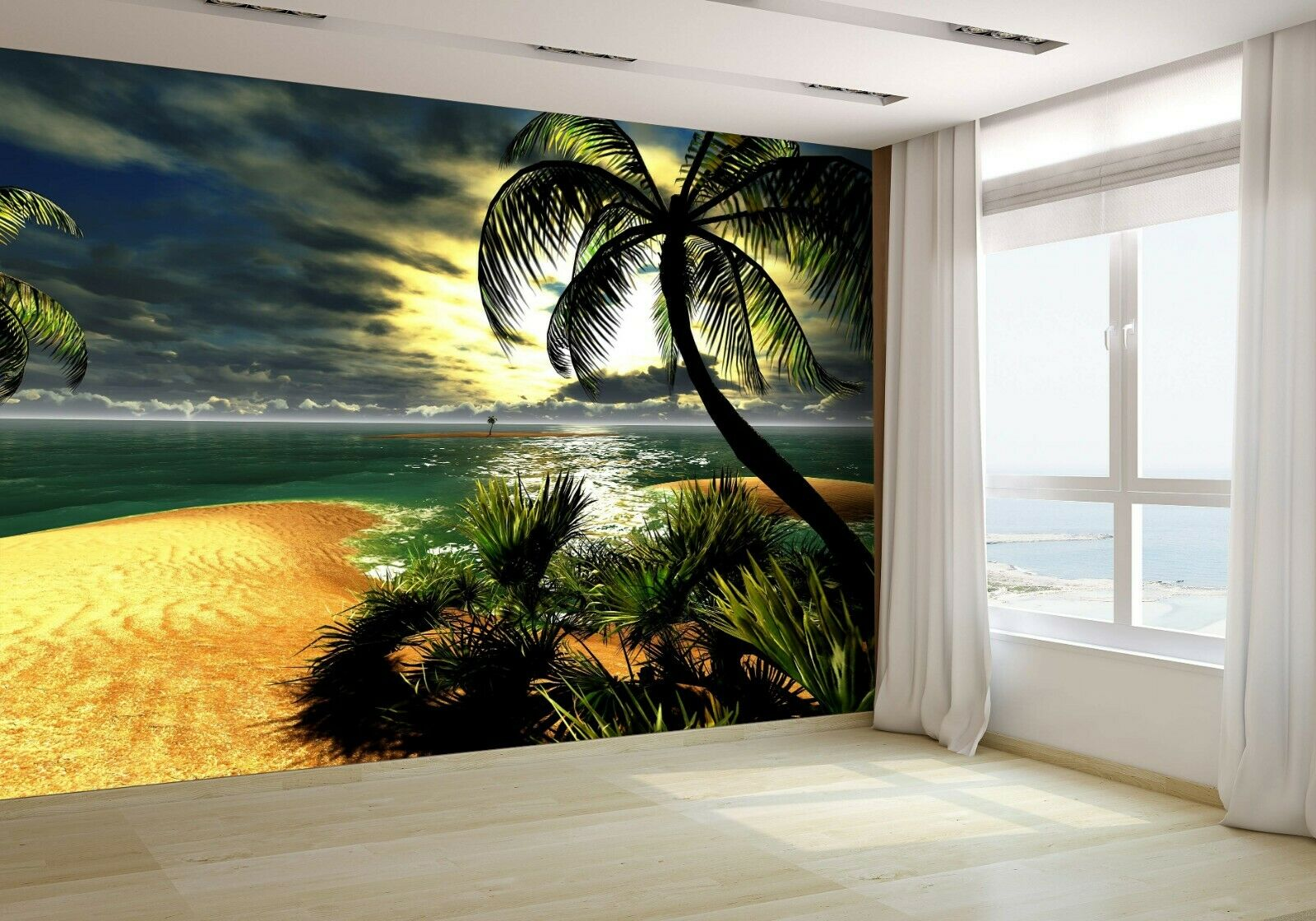 Hawaiian Sunset in Tropical Paradise Wallpaper Mural Photo 14711407 budget paper