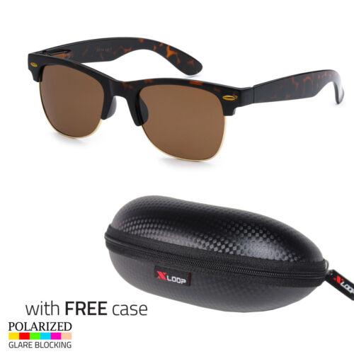 Polarized Retro Sunglasses Men Vintage Designer Metal Half Frame Case z