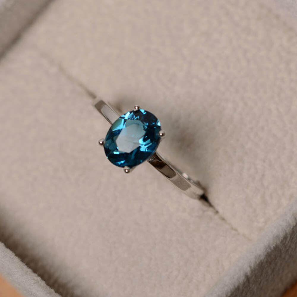 1.50 Ct Oval Cut Natural Topaz Gemstone Engagement Ring 14K White gold Size 5 6