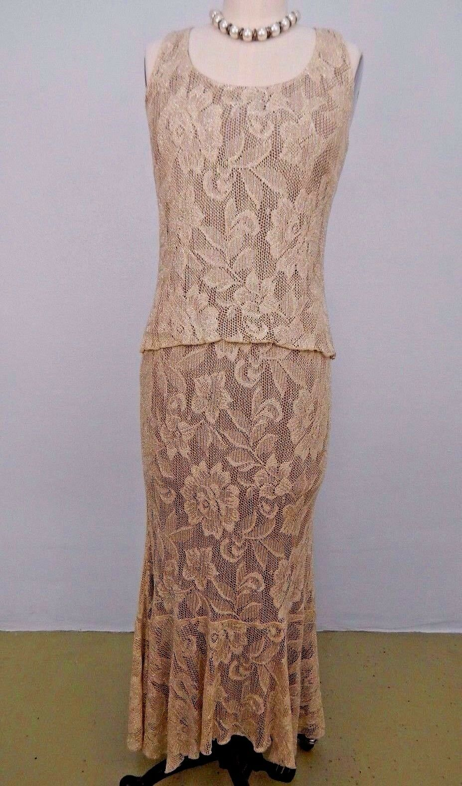Spencer Alexis Champagne gold 2PC Long Maxi Full Skirt Sleeveless Top SzS  USA