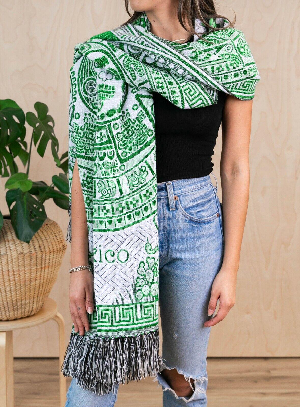 MEXICAN Rebozo Shawl Ponchos - Green Mayan Pattern Handmade Soft