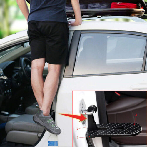 1x Car Door Latch Hook Step Foot Pedal Ladder Foldable For SUV Jeep Truck Roof