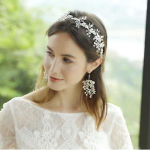 Bridal hair vine Floral headpiece Crystal hair vine Flower crown Bridal hair accessory Crystal crown Pearl Silver leaf headpiece Boho Tiara