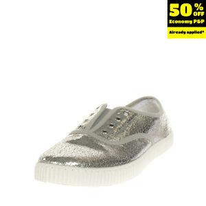 CHIPIE Slip On Sneakers EU 35 UK 2.5 US 3.5 Cracked Metallic Effect Logo Patch