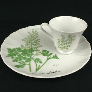 VTG-Snack-Plate-and-Cup-Sigma-Taste-Setter-Botanical-Herb-Armoise-Absinthel