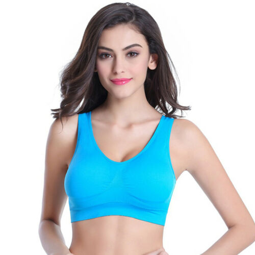 Women Seamless Gym Sports Bra Wireless Yoga Crop Top Vest Comfort Stretch M-5XL