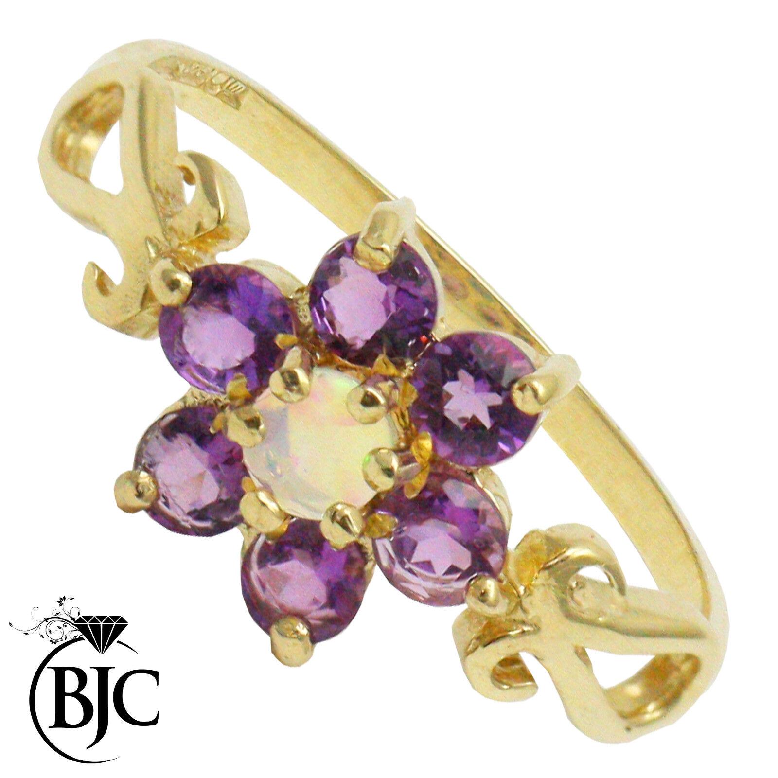 BJC 9 Karat yellowgold Amethyst & Opal Daisy Bündel Kleid Ring Ring R275