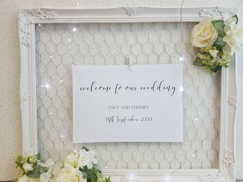Personalised Wedding Welcome Sign A4 craft calligraphy script modern budget DIY
