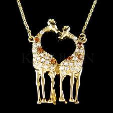 w Swarovski Crystal Giraffe Lover Safari Animal Girls Gold Tone Necklace Jewelry