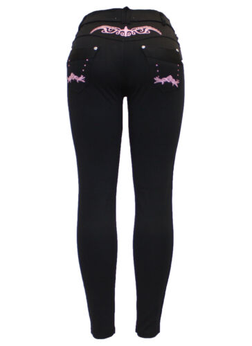 New Ladies Black Stretchy Embroidery Diamante Skinny Jeggings Jean Legging 8-26
