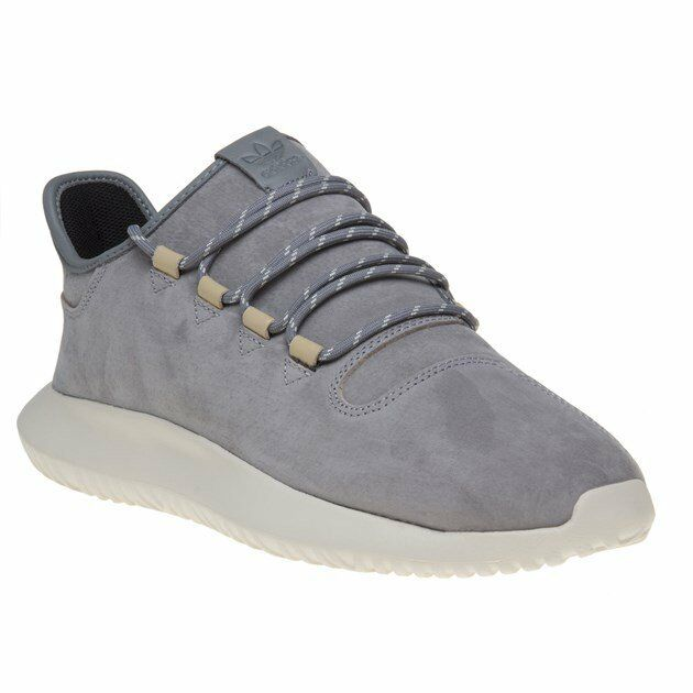 New Hombre adidas Gris Tubular Shadow Leather Up Trainers Running Style Lace Up Leather c13930