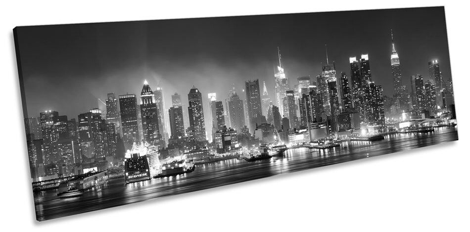 New York City Skyscrapers Night B&W CANVAS WALL ART Panorama Framed Print