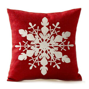image is loading snowflake in red merry christmas gifts cotton linen - Christmas Decorative Pillow Covers