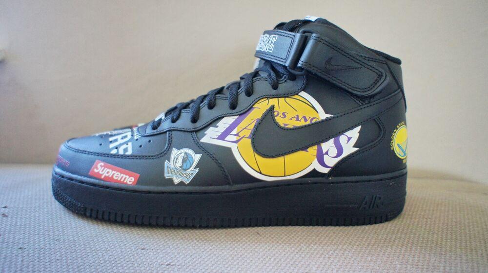 New DS Nike Supreme NBA Air Force 1 Mid '07 Noirhomme10 10.5 11 11.5 12 or 13 Chaussures de sport pour hommes et femmes