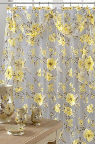 Sheer with Scarf Topper Melrose Yellow Shower Curtain