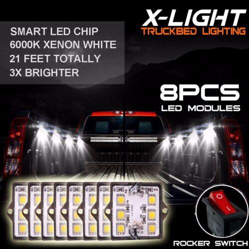 8Pcs White Truck Bed LED Lighting Kit For Ford Chevy Dodge GMC Pick-up Trucks