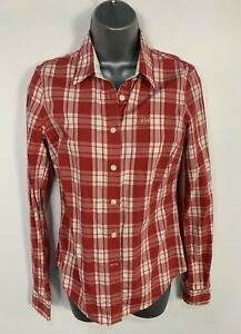 WOMENS-JACK-WILLS-SIZE-UK-8-RED-amp-WHITE-CHECK-LONG-SLEEVE-CASUAL-SHIRT-BLOUSE-TOP