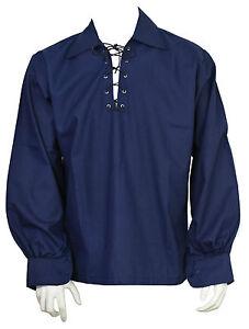 Scottish Royal Blue Jacobite Ghillie Kilt Shirt Leather Cord Sizes S 5XL