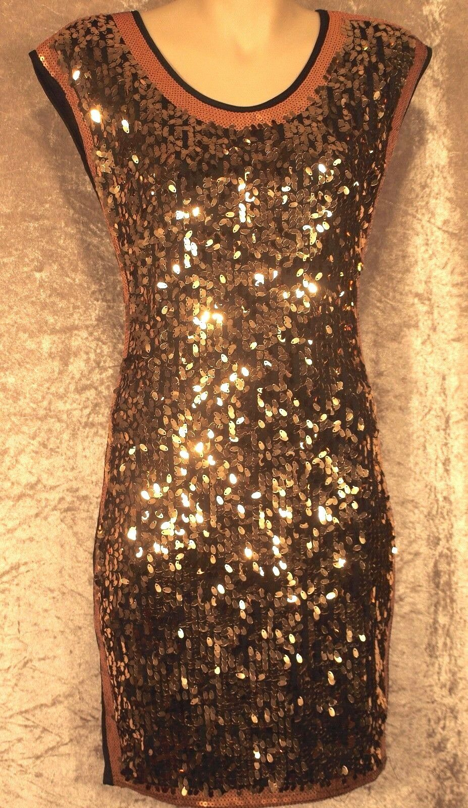 1920 1960  Party Dress Art Deco Sequin Shift Night Club Wear M