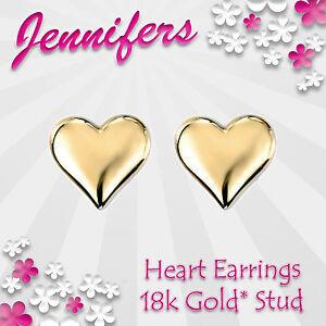 NEW-Gold-Heart-Earrings-Stud-18k-Valentines-Love-Genuine-Studs-Earring-Jewel