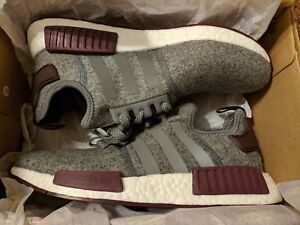 1e8572985 adidas NMD R1 Grey Wool Maroon Burgundy CQ0761 Exclusive RARE All ...