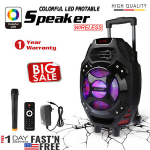 New-18-034-Wireless-Portable-KARAOKE-PARTY-PA-DJ-SPEAKER-SYSTEM-w-Wireless-Mic