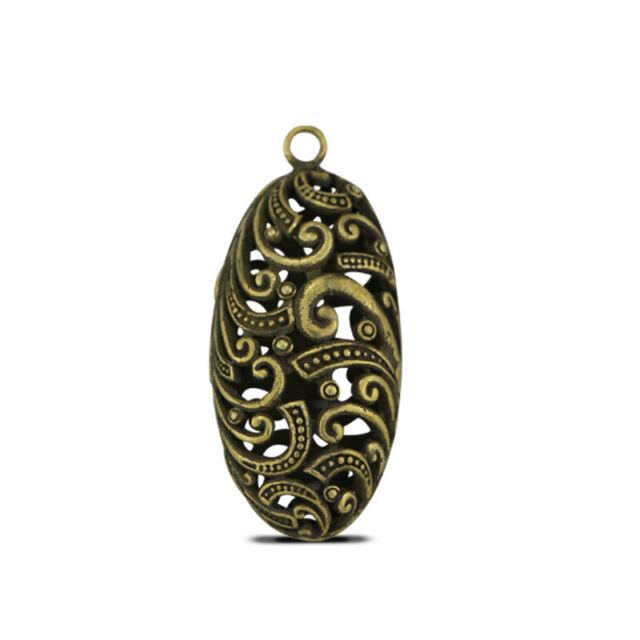 51mm Curio China Bronze Brass Auspicious Dragon Pillar Hollow Out Amulet Pendant