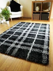 Details About New Large Thick Black White Shaggy Pile Rugs Modern Design Long Hall Runners Uk